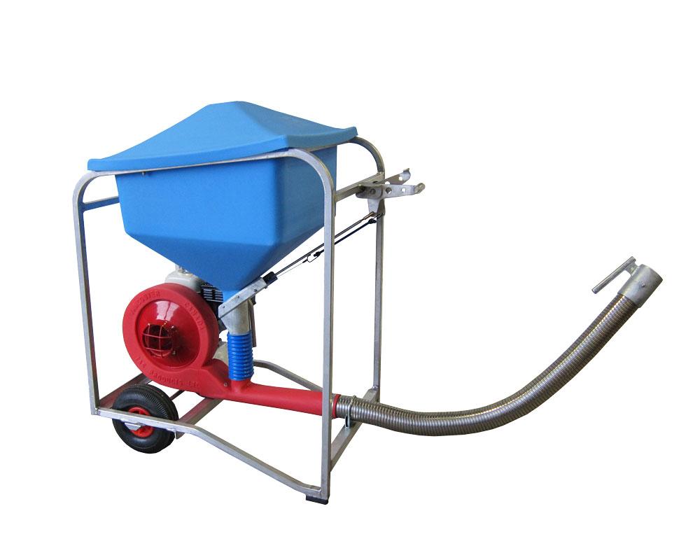 AeroSpreader S80 fish feeder with wheels mounted inside frame