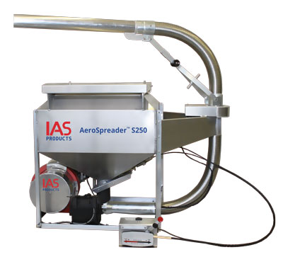 AeroSpreader S260 aquaculture feeder with Power Periscope Feed head and extended cable controls