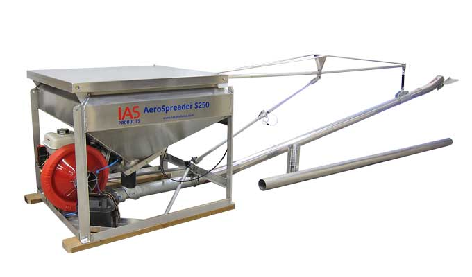 AeroSpreader S250 aquaculture feeder with extended boom and Gull Wing Deflector