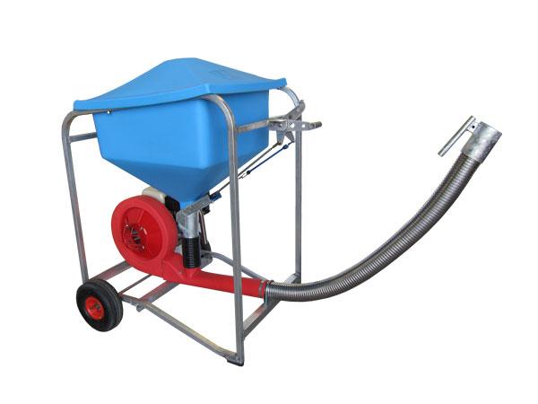 AeroSperader™ S80 mobile fish farm feeder with polyurethane hopper, gas engine, and stainless steel flex hose