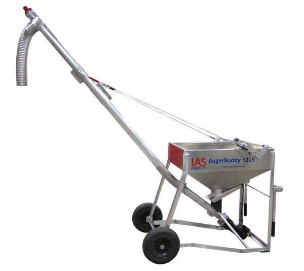 AugerBuddy side image showing a cart style bulk feed loader with hopper