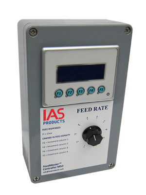 Feedmaster Controller M50 PLC in polycarbonate enclosure with screen display and feed rate control knob