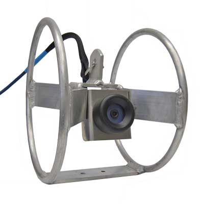 SeeMate Plus underwater aquaculture camera mounted on a aluminum net ring