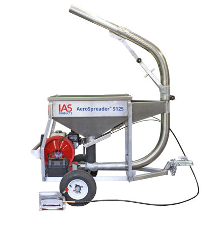 Aerospreader S125 aquaculture feeder on trailer