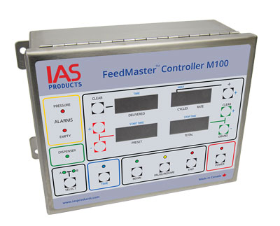 fish farm feeder feed metering controller in stainless steel enclosure