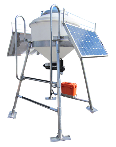 floating fish feeder with solar panels